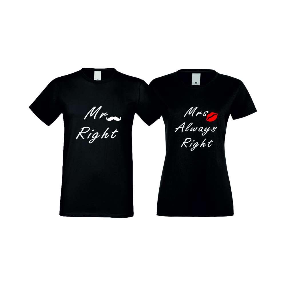 Tricouri pentru cupluri ALWAYS RIGHT 004 negru