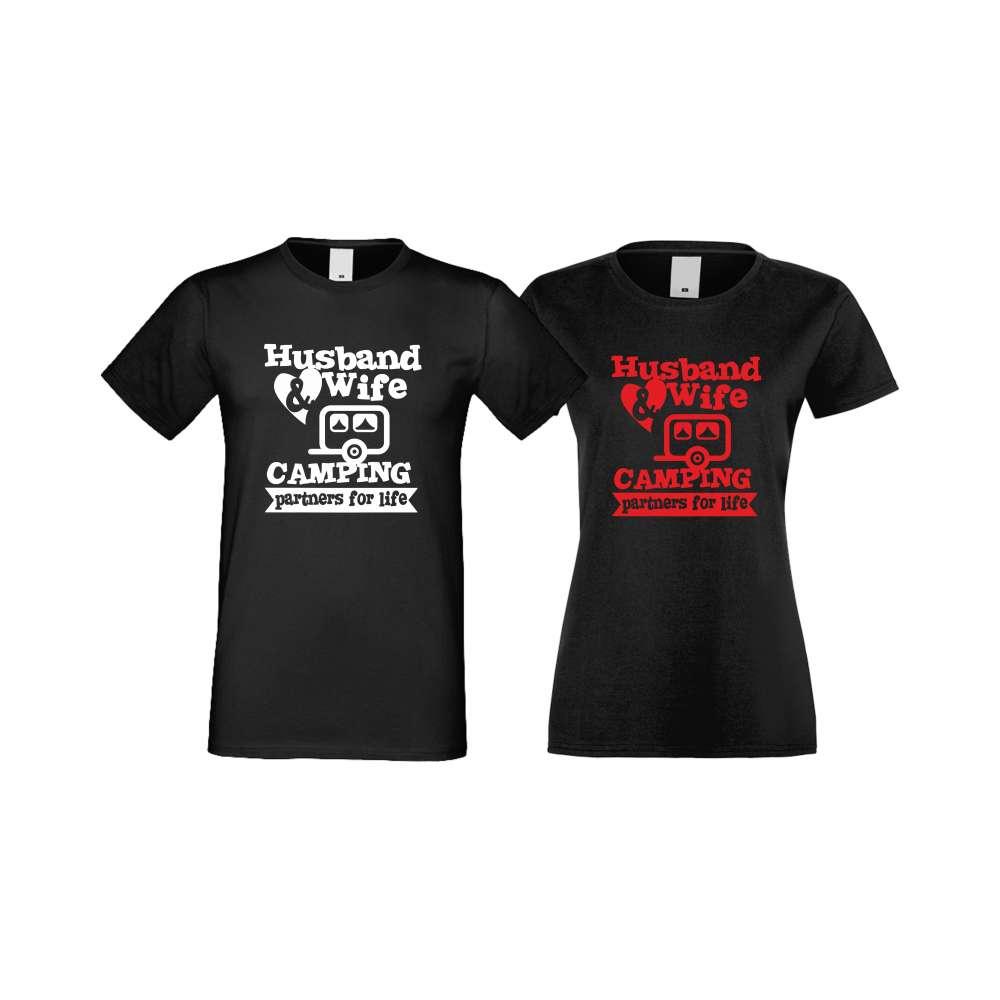 Tricouri pentru cupluri Camping Couplе negru