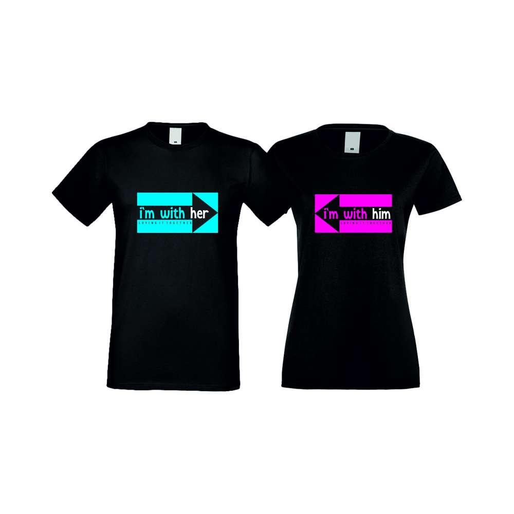 Tricouri pentru cupluri I AM WITH HER negru