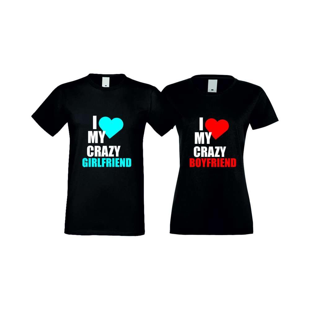 Tricouri pentru cupluri I Love My Crazy negru