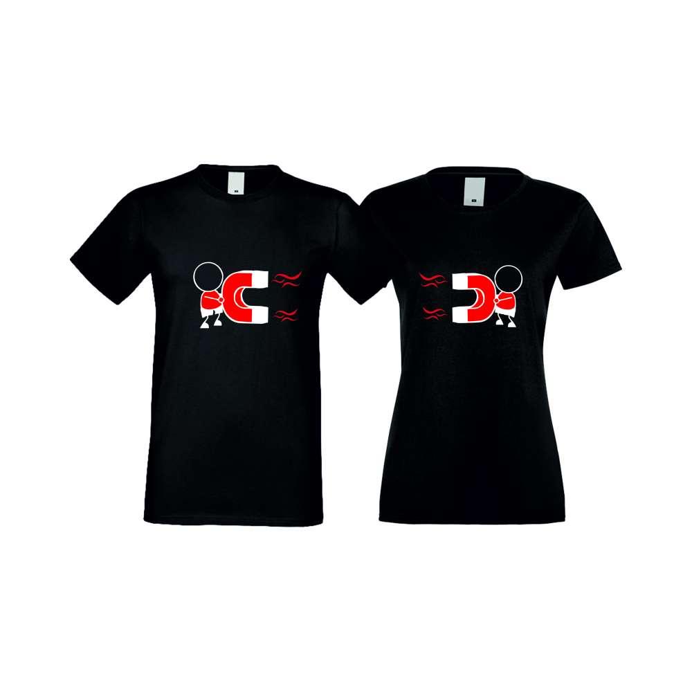 Tricouri pentru cupluri MAGNETS LOVE negru