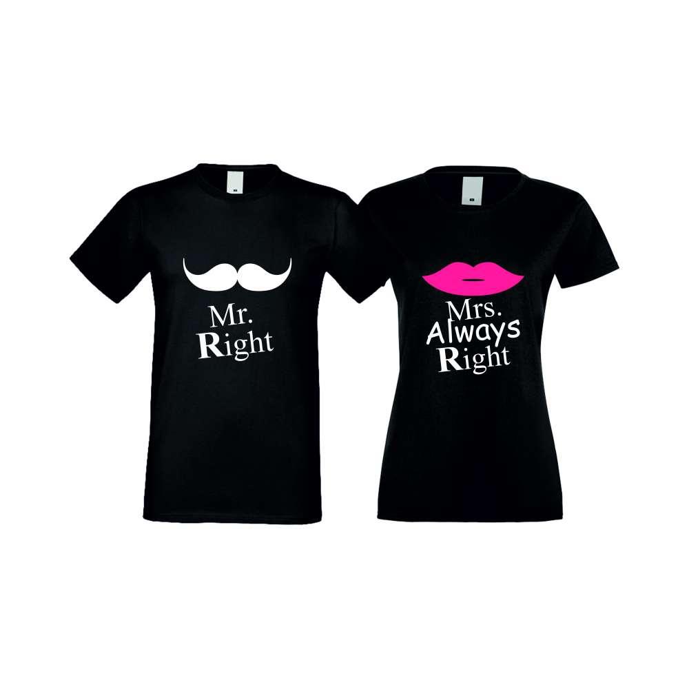 Tricouri pentru cupluri Mr Right Mrs Always Right negru