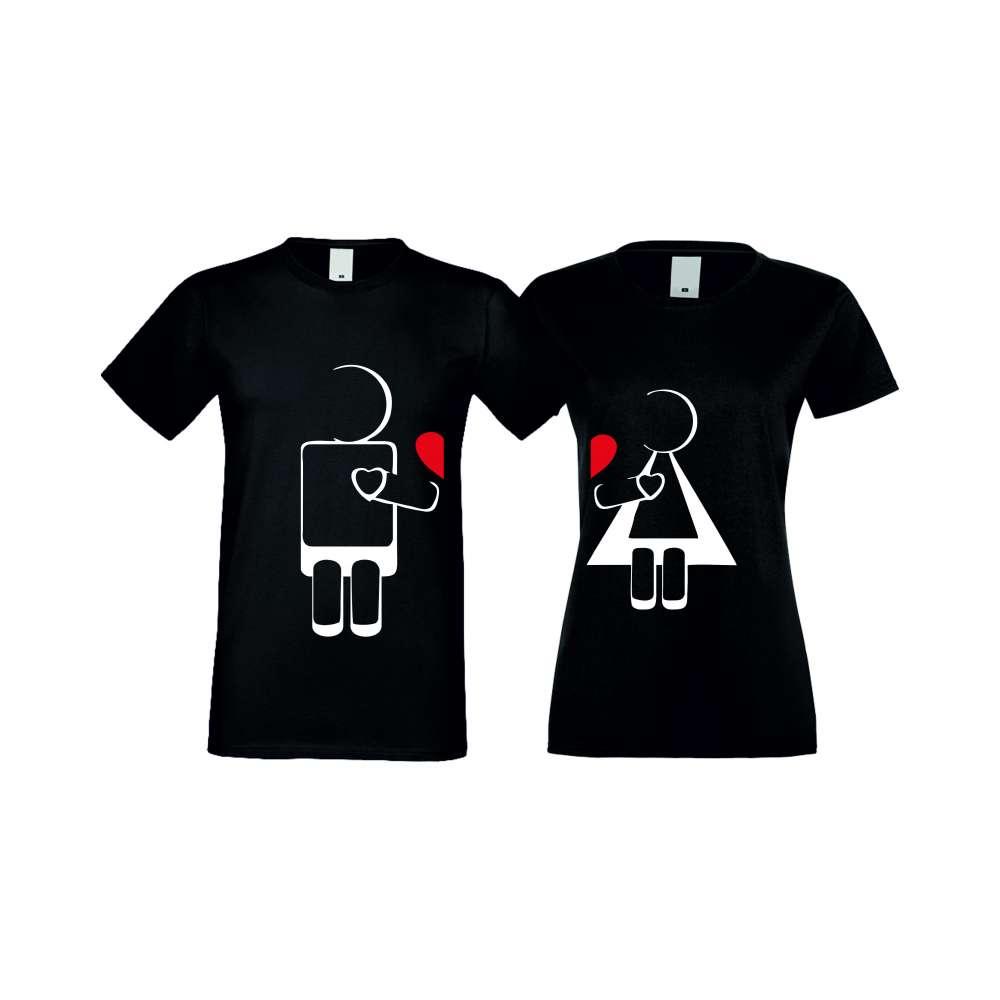 Tricouri pentru cupluri ROBOT LOVE negru