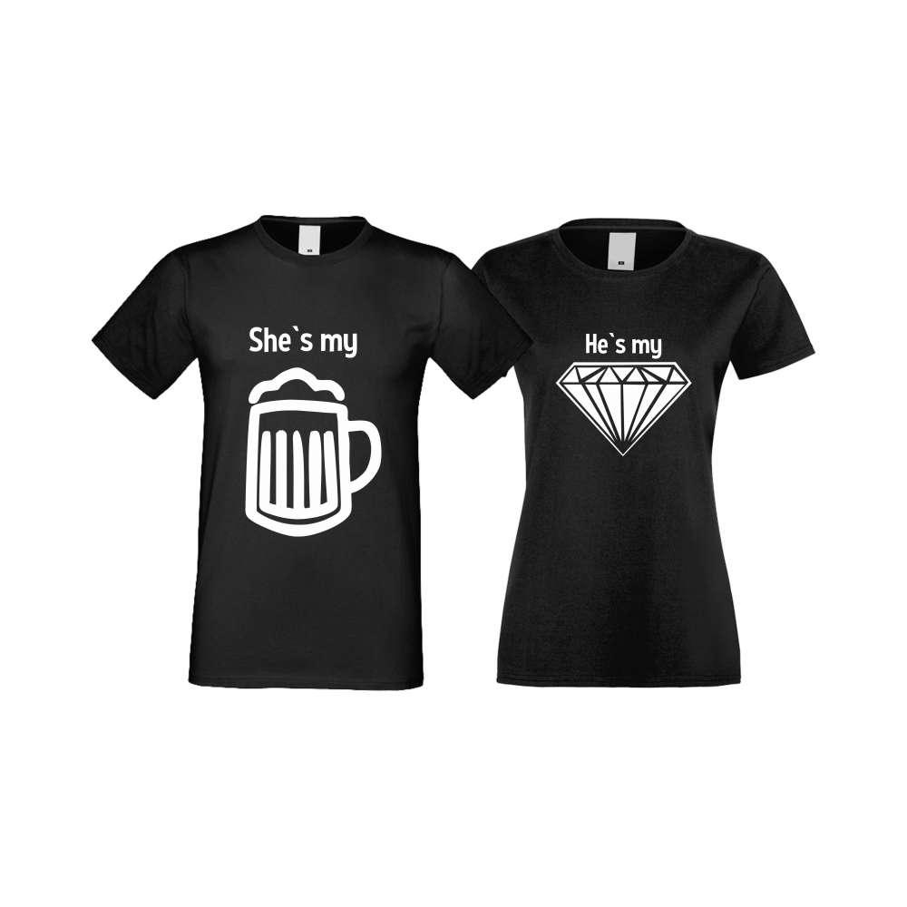 Tricouri pentru cupluri SHE IS MY BEER negru