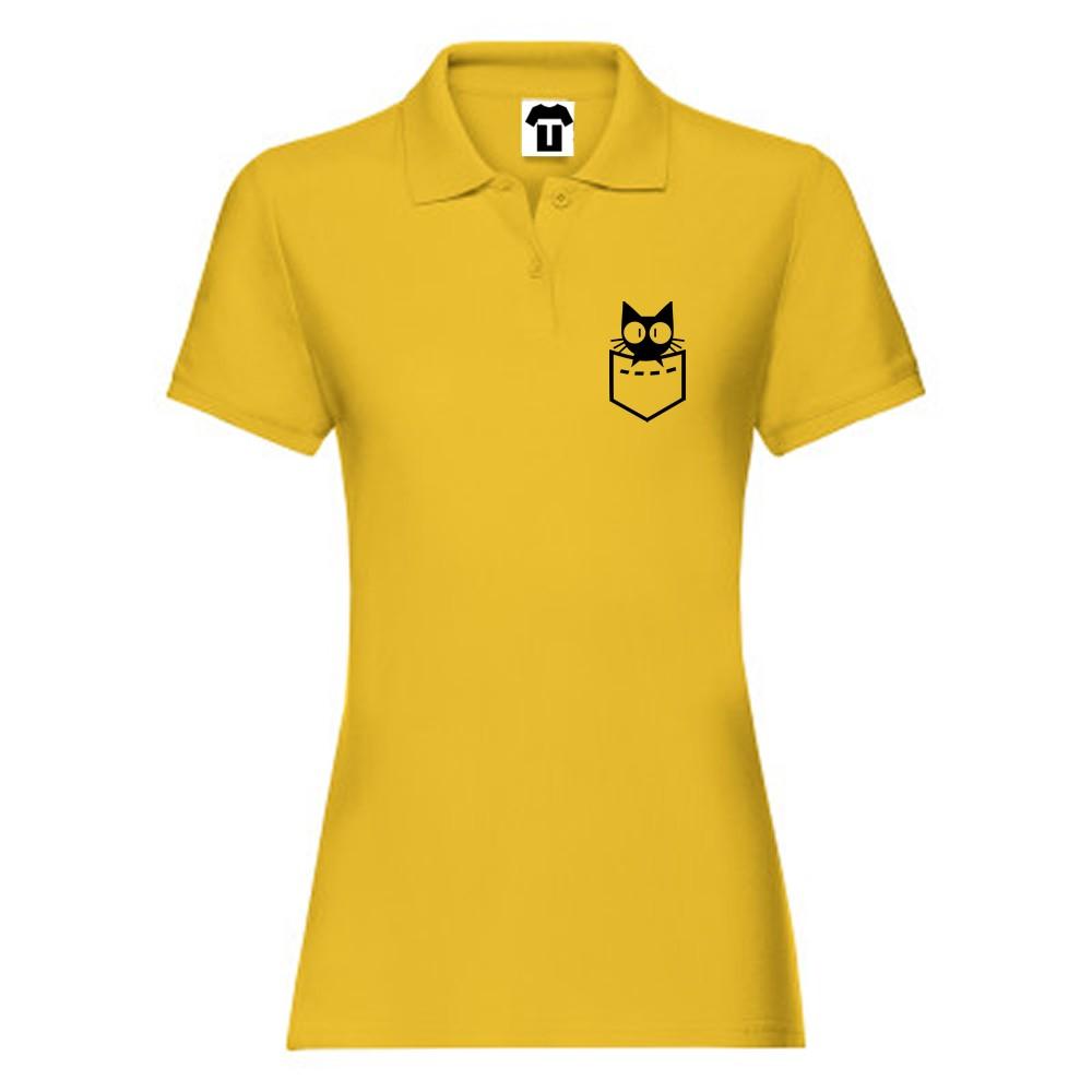 Tricou/Camasa stil Polo de dama din 100% bumbac organic Cat Face Pocket galben