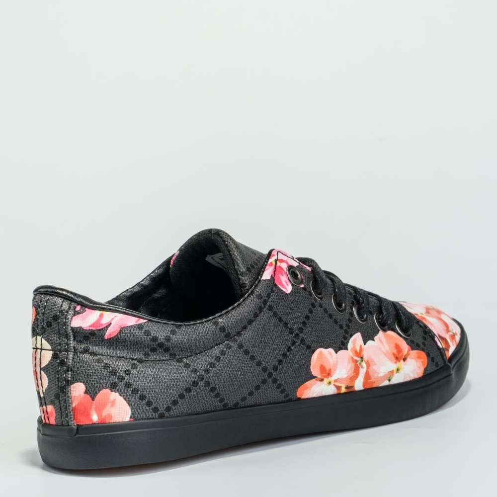 Tenisi de dama pe negru cu motive florale